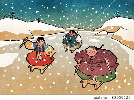 Vector illustration-  children play traditional Korean games. vintage concept illustration. 003 38059529
