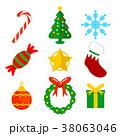 クリスマス フラット 平のイラスト 38063046