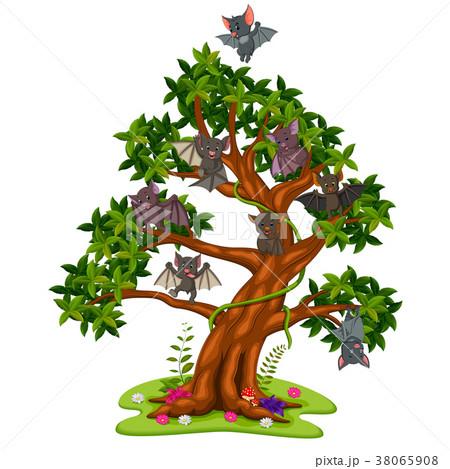 Many bats cartoon on the trees 38065908
