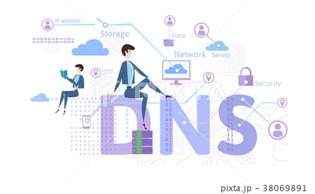 DNS concept, Domain Name System. Decentralizedのイラスト素材 ...