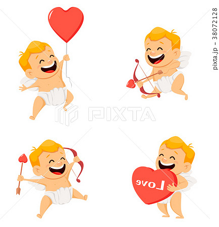 Valentines Day greeting card with cute cupid. Set 38072128