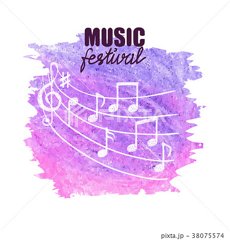 Watercolor music background with doodle notes. 38075574