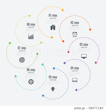 infographics template 8 options with circleのイラスト素材 38077184