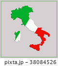 Map and flag of Italy. 38084526