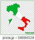 Map and flag of Italy. 38084529
