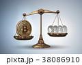 ビットコイン はかり 立体のイラスト 38086910