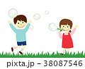 シャボン玉 ジャンプ 子供のイラスト 38087546
