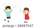 シャボン玉 子供 人物のイラスト 38087547