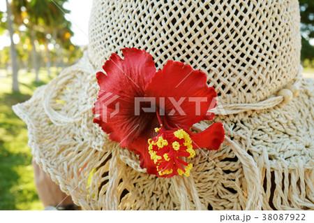 トロピカルな麦わら帽子 ハイビスカス 女性 38087922