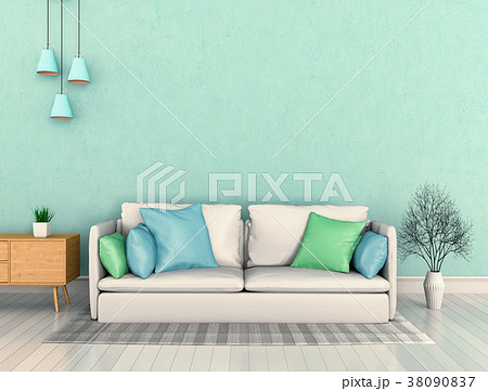 3D rendering of interior modern living room  38090837