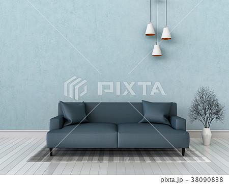 3D rendering of interior modern living room  38090838