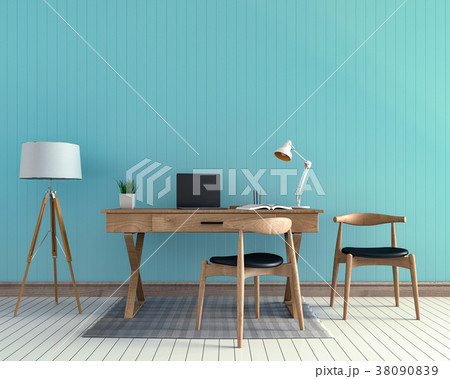 3D rendering interior  room with laptop computer  38090839