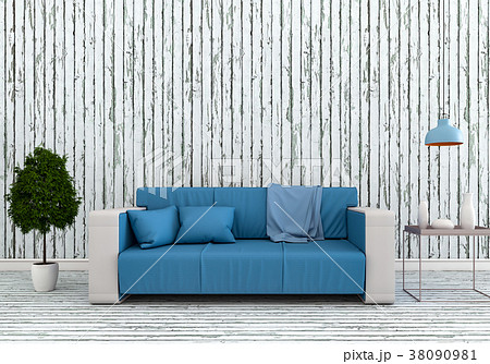 3D rendering of interior modern living room  38090981