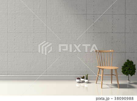 3D rendering of neutral interior with armchair  38090988