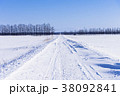雪道 雪景色 一本道の写真 38092841