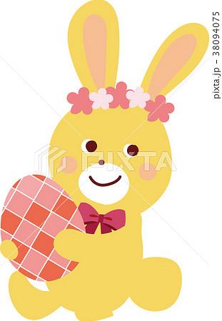 イースターエッグをかかえるウサギのイラスト 38094075