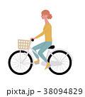 自転車 若い女性 イラスト 38094829