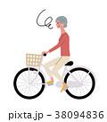 自転車にのる シニア 女性 イラスト 38094836