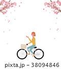 春 自転車 イラスト 38094846