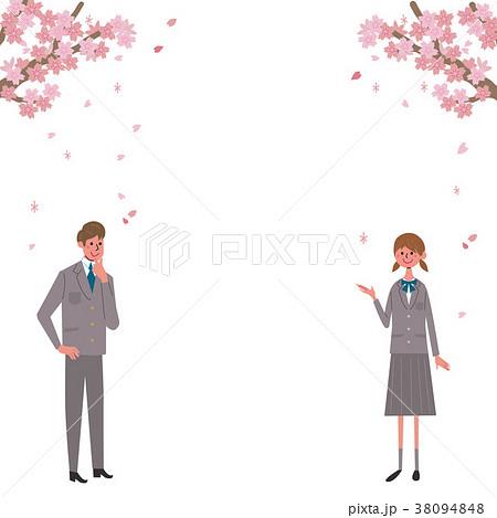 桜 学生 イラスト 38094848