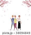 お花見をする 女性 イラスト 38094849