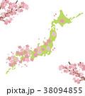 桜 桜前線 地図のイラスト 38094855