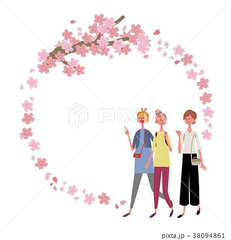 桜 女性 フレーム イラスト 38094861