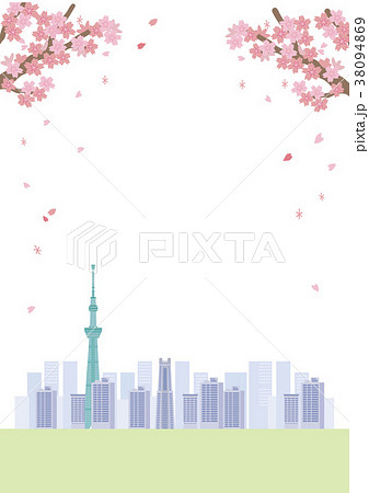 桜 東京 イラスト 38094869