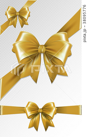 Set of gold gift bows. Vector illustration 38095776