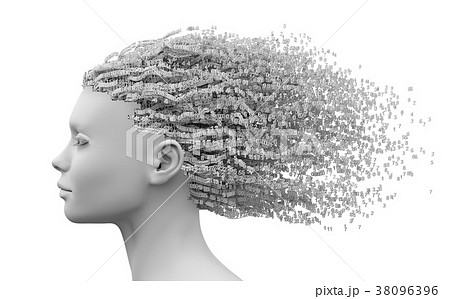 Head Of Beautiful Young Woman And 3D Digits As 38096396