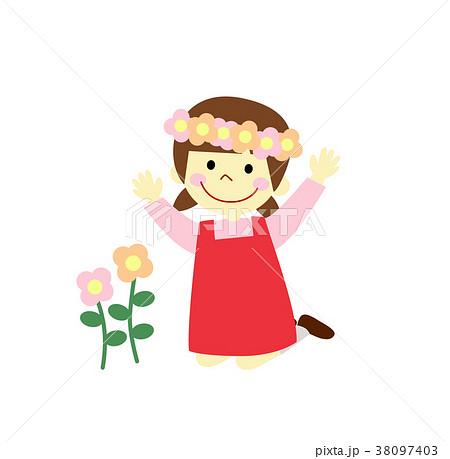 女の子 花かんむりのイラスト素材 38097403 Pixta