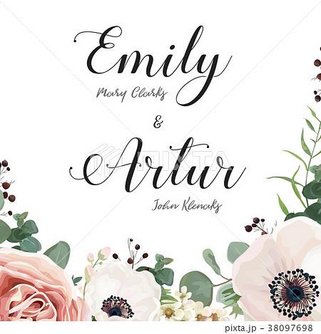 floral wedding elegant invite card vector designのイラスト素材