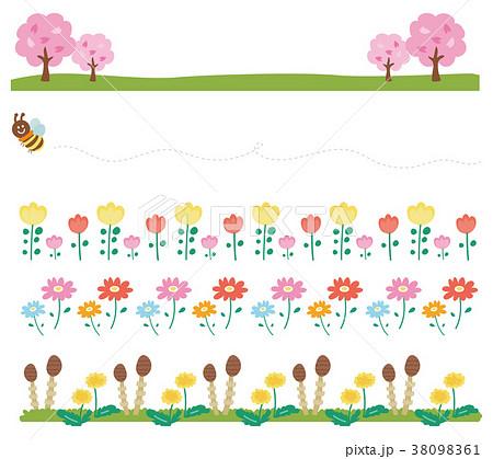 春の飾り枠ラインのイラスト素材花自然のイラスト素材 38098361