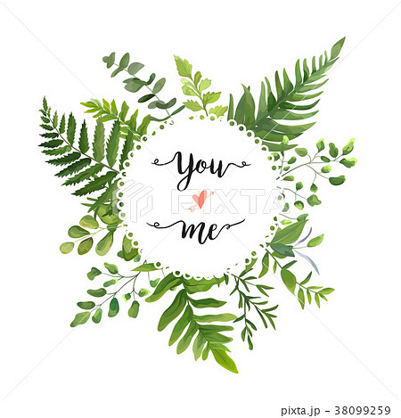 Green Leaves vector round greenery wreath design 38099259