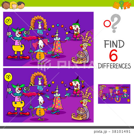 differences game with clown charactersのイラスト素材 38101491 pixta
