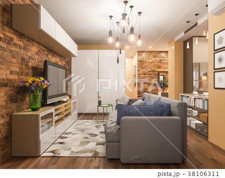 3d illustration living room interior designのイラスト素材 38106311