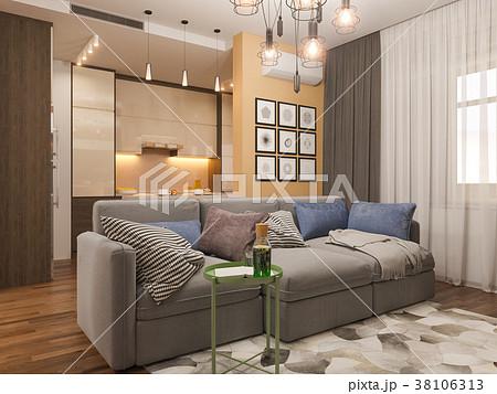 3d illustration living room interior designのイラスト素材 38106313