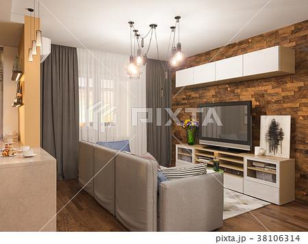 3d illustration living room interior designのイラスト素材 38106314