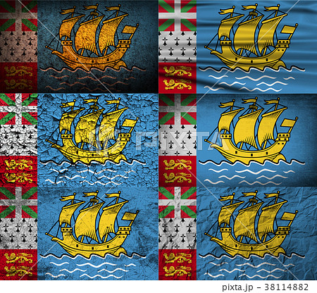 set of six flags saint pierre and miquelon franceのイラスト素材
