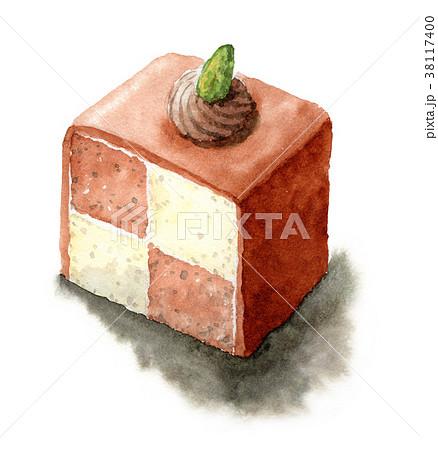 水彩で描いたチェックのチョコケーキ 38117400