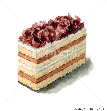 水彩で描いたオペラチョコケーキ 38117401