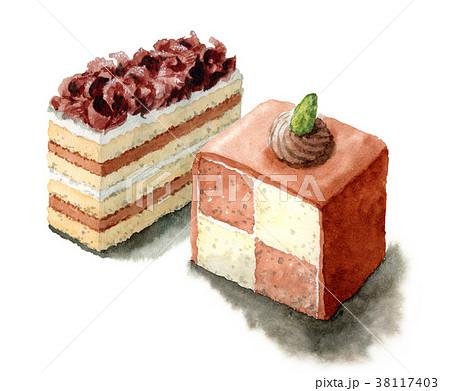 水彩で描いたチョコケーキ 38117403