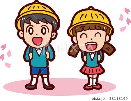 入学式のイメージイラスト(男の子と女の子) 38118149