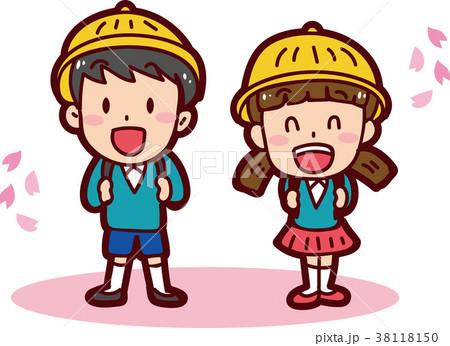 入学式のイメージイラスト(男の子と女の子) 38118150