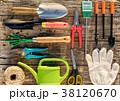 Gardening tools on wooden background flat lay 38120670