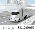 高速道路に走行しているシルバー色の自動運転電動トラック 38126965