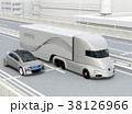 高速道路に走行中の自動運転電動トラックと乗用車のイメージ 38126966