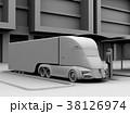 急速充電ステーションに充電中の電動セミトラックのクレイシェーディングイメージ 38126974