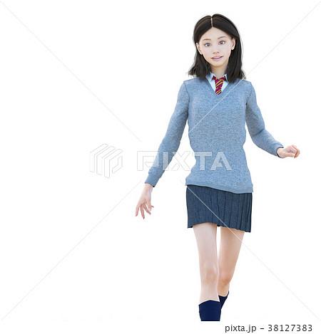 ポーズする制服の女子学生 perming 3DCG イラスト素材 38127383