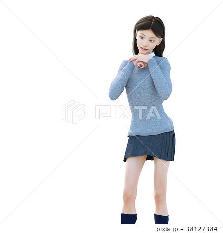 ポーズする制服の女子学生 perming 3DCG イラスト素材 38127384